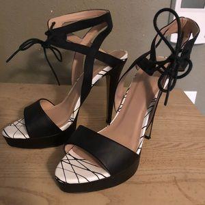 Black and white sandal